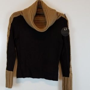 Yuka Cowl Neck Sweater with Cable Knit Detail NWT